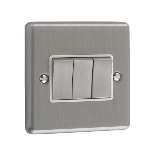 Brushed Chrome 3 Gang Light Switch White Trim W03bcw