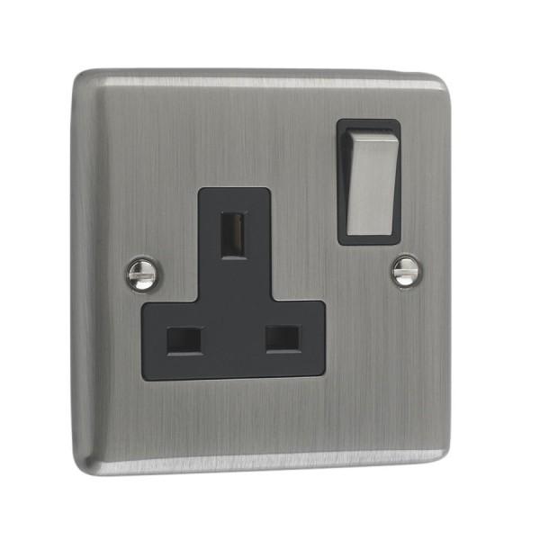 Brushed Chrome 1 Gang Plug Socket Black Trim W06bcb
